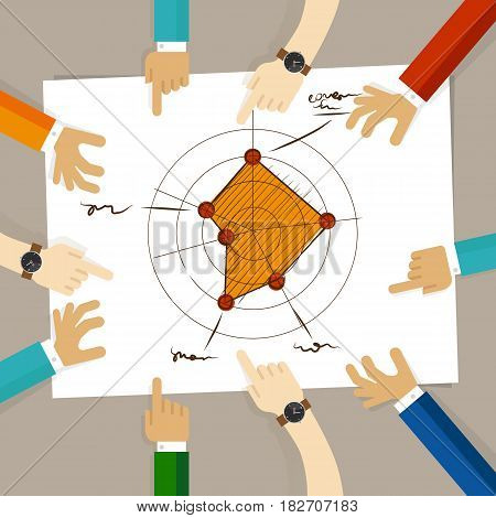 radar chart performance strong aspects. hand drawing sketch analysis. team member together working discuss in a meeting hands pointing to paper vector