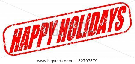 Happy holidays on the white background, red illustration