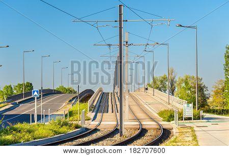 Tram line in Bordeaux-Lac district - France, Aquitaine