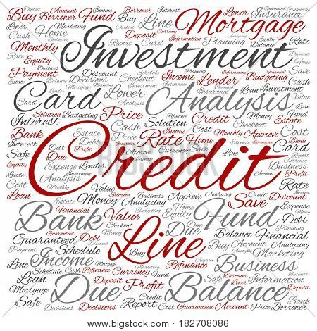 Conceptual credit card line investment balance square word cloud isolated on background