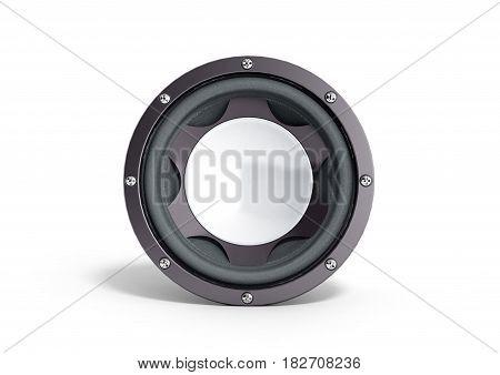 Black Loudspeaker 3D Render On White Background