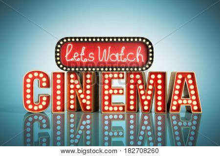 Cinema Had Light Concept Nave Lets Watch Cinema 3D Render On Blue