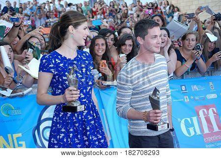 Giffoni Valle Piana Sa Italy - July 23 2013 : Alexandra Daddario and Logan Lerman at Giffoni Film Festival 2013 - on July 23 2013 in Giffoni Valle Piana Italy