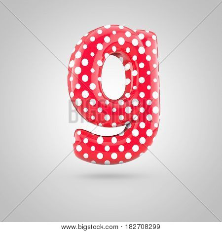 Red Alphabet Letter G Lowercase With White Dots Isolated On White Background.
