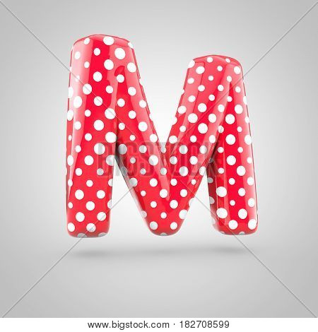 Red Alphabet Letter M Uppercase With White Dots Isolated On White Background.