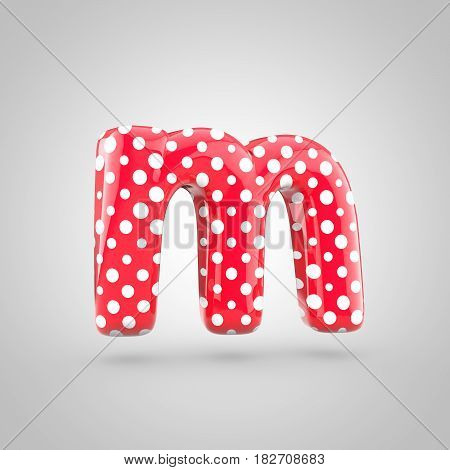 Red Alphabet Letter M Lowercase With White Dots Isolated On White Background.