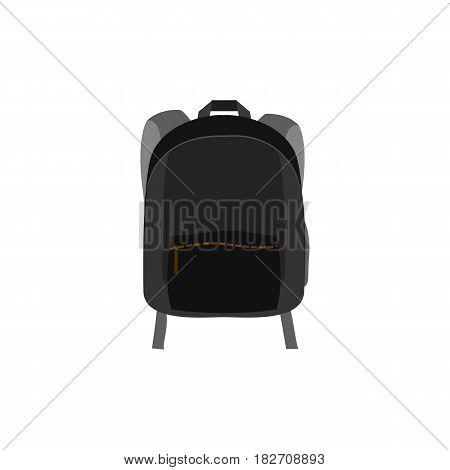 Backpack. Vector Illustration. Backpack Isolated On White Background. Black Bag For Schlool Studing,