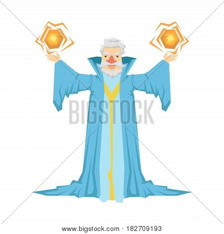 Old bearded wizard in a blue robe holding two magic balls in his hands. Colorful fairy tale character Illustration isolated on a white background