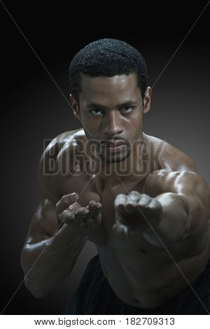 Mixed race man in martial arts pose