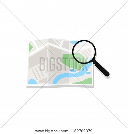 Map And Magnifying Glass. Vector. Magnifying Glass Consulting Road Map. Concept Travel Route Plannin