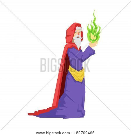 Old wizard in a red cape holding green magic ball. Colorful fairy tale character Illustration isolated on a white background