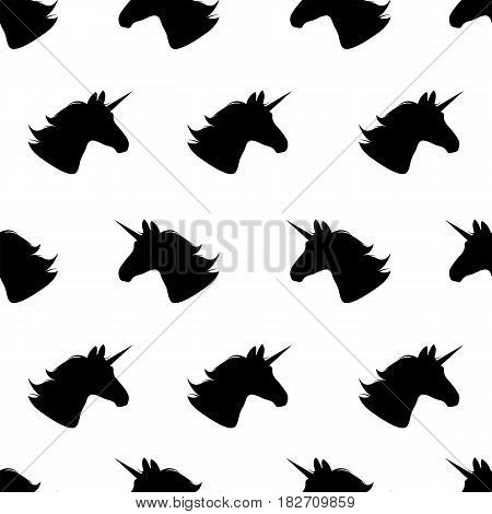 Unicorn. Seamless pattern.Vector illustration. Black unicorns on white. Repeating background. Fabric print. Textile design. Fairytale horses. Simple unicorn wallpaper