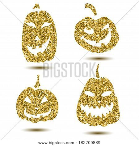 Halloween sparkley pumpkin with scary face on white.