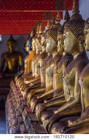 Row of Buddhas placed in a temple in Bangkok