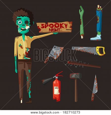 Zombie character. Cartoon vector illustration. Halloween party. Ugly monsters. Green evil dead men. Stylized person. Banner and poster. Set of weapon