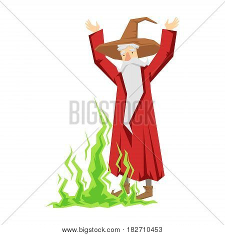 Wizard waving with both hands. Colorful fairy tale character Illustration isolated on a white background
