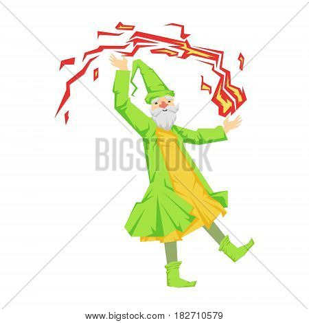 Green wizard in action with red crystal ball. Colorful fairy tale character Illustration isolated on a white background