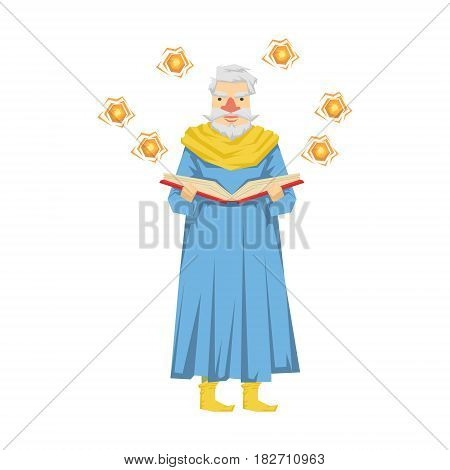 Wizard holding a magic book, magic balls flying around him. Colorful fairy tale character Illustration isolated on a white background