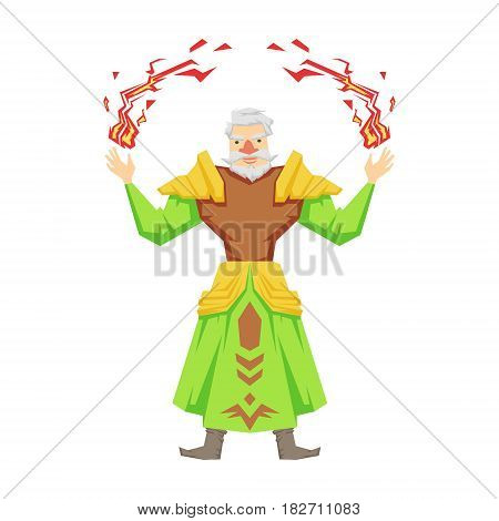 Old bearded magician making magical passes. Colorful fairy tale character Illustration isolated on a white background