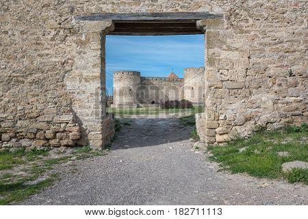 Ancient castle in summer. Ukrainian landmark Akkerman