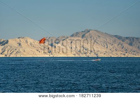 Parasailing above sea during vacation. Leisure activity in touristic journey to the exotic country. Paragliding over the Red sea.