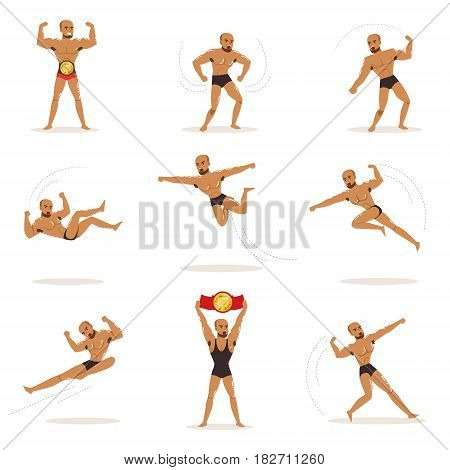Freestyle Wrestling Fighter In Black Underwear Fighting Set Of Illustrations With Wrestler Sportsman. Cartoon Male Character And Combat Sport Series Of Illustrations With Manly Guy Showing Aggression.