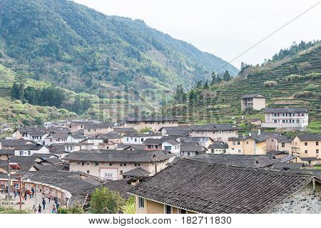 Fujian, China - Jan 02 2016: Taxia Village At Tianloukeng Tulou Scenic Spots In Fujian Tulou(nanjing