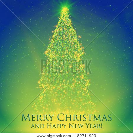 Shining christmas trees on colorful green background with backlight and glowing particles. Abstract vector background. Glowing fir-tree. Elegant shining background for you design.