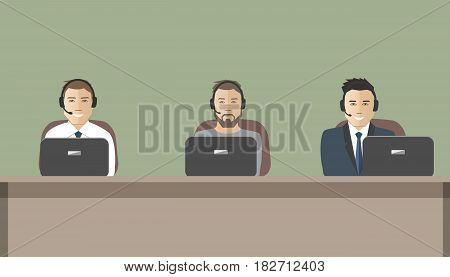 Web banner of call center workers. Technical support service. Young men in headphones sitting at the table. It can be used for websites. Raster copy.