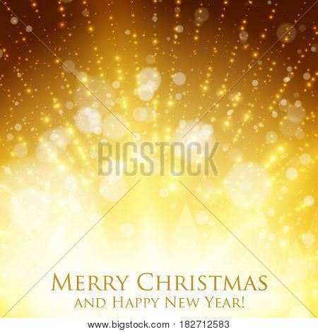 Shining christmas colorful background with backlight and glowing particles. Abstract vector Happy New Year backdrop. Pine trees silhouette on the back. Elegant shining background for you design.