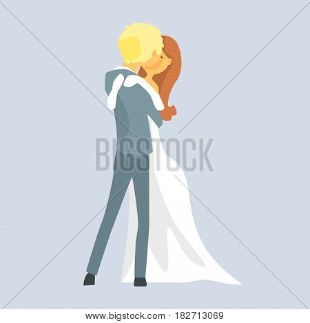 Beatuful bridal couple kissing, Romantic couple colorful cartoon character Illustration