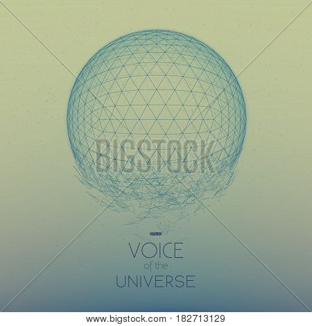 Crashing blue space sphere. Abstract vector background with tiny stars. Glow of sun from the bottom. Abstract space geometry. Sparkles of alien stars on the backdrop. Disintegration of cyber sphere.
