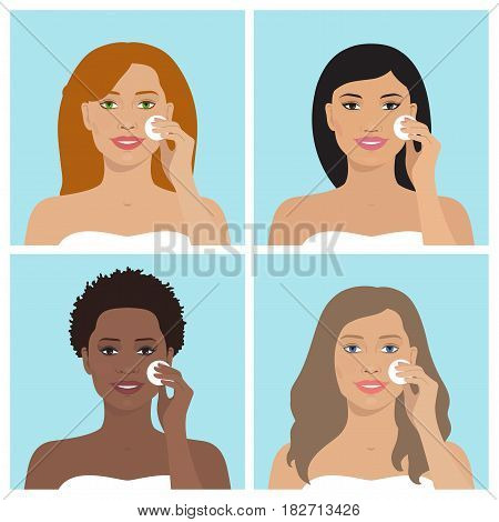 Avatar set of beautiful women of different nation with various hairstyle. Every woman cleaning her face with cotton pad. Vector illustration of smiling women. Beauty and health. Flat design.