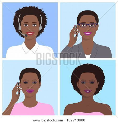 Vector avatar set. African american business woman with glasses, talking on the mobile phone. Call-operator in headsets. African attractive smiling girl talking on the telephone. Vector flat icons.