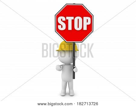 3D Character wearing hard hat holding a stop sign. The character is re-routing trafic.