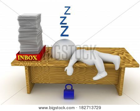3D Character is sleeping on his desk because he is overworked. Image depicting long work hours or a workaholic.