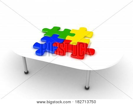 3D Illustration of four colorful matching puzzle pieces on a table. The jigsaw pieces are colored.