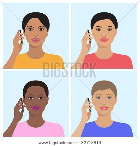 Vector set of attractive indian, asian, european, african american women talking on the mobile phones. Vector illustration of beautiful women. Flat design.