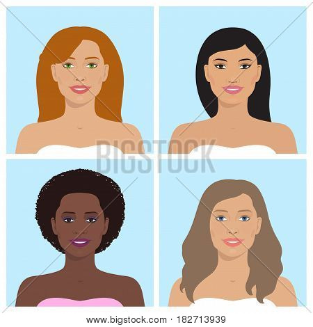 Vector avatar icon set. International portraits. Set of womens avatars. Women of different nation. Women, girls with various hairstyle. Vector flat illustration.
