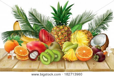 Composition of tropical fruits which include halves and whole fruits on wooden base. Vector illustration