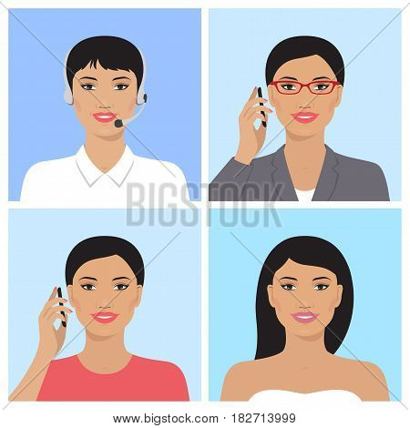 Vector avatar set. Asian business woman with glasses, talking on the mobile phone. Call-operator in headsets. Asian attractive woman. Asian smiling girl talking on the telephone. Vector flat icons.
