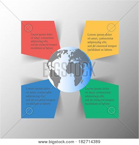 Template for diagram graph presentation and chart with 4 options parts steps or processes. Vector infographic