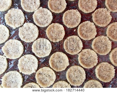 Cooking Fried Rice Candies With Sun Light, Pattern Of Thai Crispy Rice Cracker