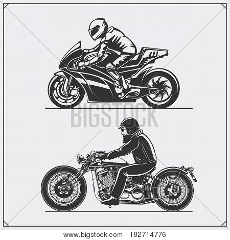 Motorcycle riders. Emblems of biker club. Vintage style. Monochrome design.