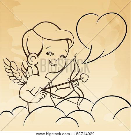 Cute happy merry smiling archer cupid. Amur with bow and arrow. And speech balloon. Line with background. Good for wedding invitation, romantic card, postcard.