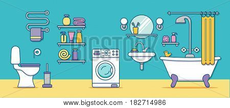 Bath equipment colorful concept. Card or poster template with flat outline symbols of mirror, toilet, sink, shower. Vector illustration for web sites, shops or bathroom interior designs.