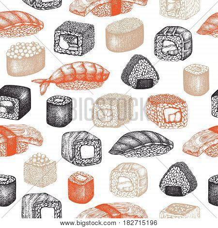 Vector background with hand drawn sushi roll illustrations. Vintage design with asian food sketch on white backgroung. Sushi seamless pattern