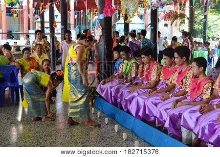 BANGKOKTHAILAND-APRIL 162017: celebrates the Songkran Festival in the Thai-Mon style at Bangkradi Temple bangkuntien featuring a magnificent parade. Visitors can learn how to play saba enjoy a Mon folk play