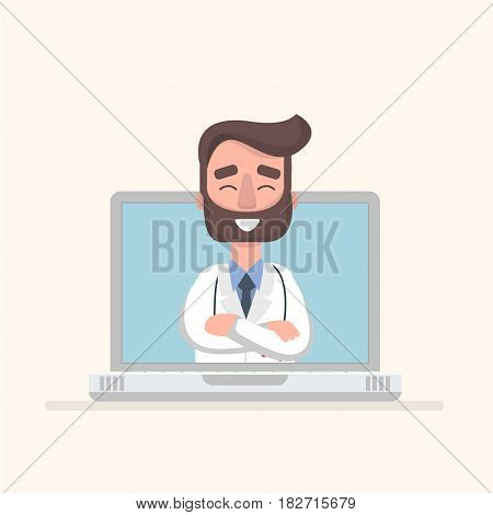 Doctor consultant in laptop. Vector illustration in a flat style.