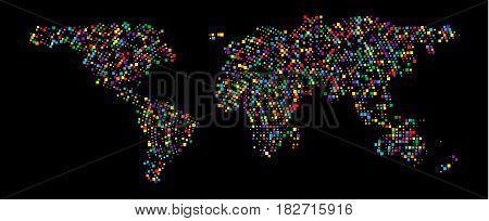 Abstract Hatched World Map with scuare. Travel Vector Illustration. Earth world map of rainbow. Abstract geography vector background